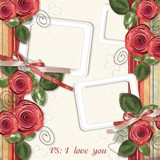Retro Card With Roses For Congratulations Stock Images