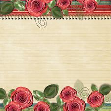 Free Retro Background With Beautiful Roses For Congratu Stock Photography - 23352872