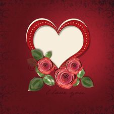 Free Greeting Card With Heart And Roses Stock Images - 23352884