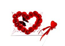 Free Red Heart And A Postcard For St. Valentine S Day Stock Image - 23352931