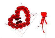 Free Red Heart And A Red Stcard For St. Valentine S Day Royalty Free Stock Photography - 23352947