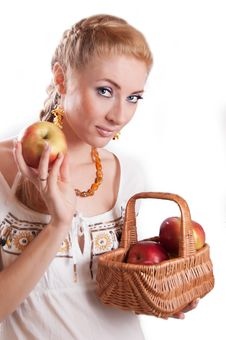 Free Woman With Basket Of Apples Royalty Free Stock Image - 23353326