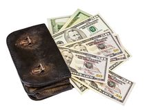 Free Old Wallet With Dollars Royalty Free Stock Photography - 23353607