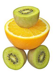 Kiwi And Orange Stock Photography