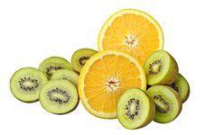 Free Orange And Kiwi Slices Stock Photos - 23354693