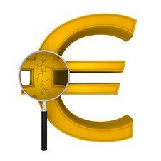 Free Magnifying Euro Crack Royalty Free Stock Photo - 23358925