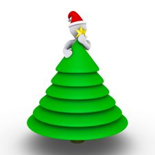 Free Placing Star On The Christmas Tree Royalty Free Stock Photos - 23359168