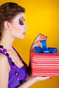 Beautiful Woman With Make Up In Dress Open Gift Royalty Free Stock Photo