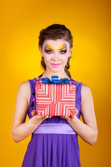 Beautiful Woman With Make Up In Dress With A Gift Stock Photos