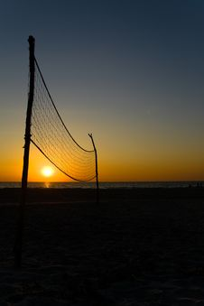 Free Volleyball Net And Sunset Royalty Free Stock Images - 23359629