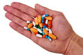 Free Male White Hand With Colorful Pills And Tablets. Stock Photo - 23364470
