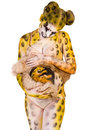 Free Pregnant Woman With Body-art As Leopard Stock Photo - 23366200