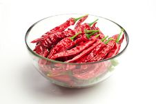 Free Red Chili Peppers  On White Royalty Free Stock Photography - 23360647