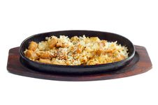 Free Rice And Meat Fried In A Frying Pan Royalty Free Stock Image - 23361406