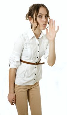 Free Profile View Of Girl Calling Someone Against White Royalty Free Stock Images - 23362159