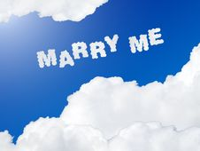 Free Marry Me Text In The Sky Stock Images - 23362844