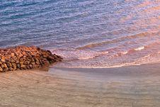 Sandy Beach At Sunset Gran Canaria Stock Photos