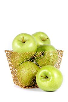 Free Green Apples In A Gold Basket Royalty Free Stock Photos - 23367738