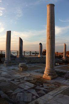 Caesarea Israel Columns Stock Photos