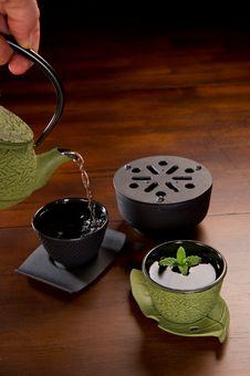 Green Tea Serving Set Royalty Free Stock Image