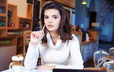 Free Student Woman In Cafe Royalty Free Stock Image - 23373206