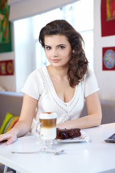 Student Woman In Cafe Stock Photography