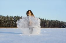 Free In Winter The Snow Plays A Curly-haired Girl Royalty Free Stock Photos - 23373438