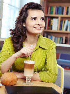 Free College Student On A Cafe. Royalty Free Stock Image - 23373806