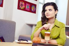 Free College Student On A Cafe. Royalty Free Stock Photo - 23373975