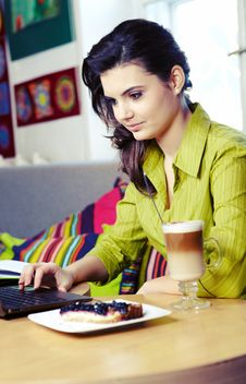 College Student On A Cafe. Stock Photo