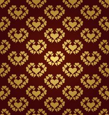 Free Seamless Pattern. Gold Hearts Stock Image - 23374671