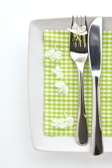 Free Spring Table Place Setting Royalty Free Stock Photography - 23378757