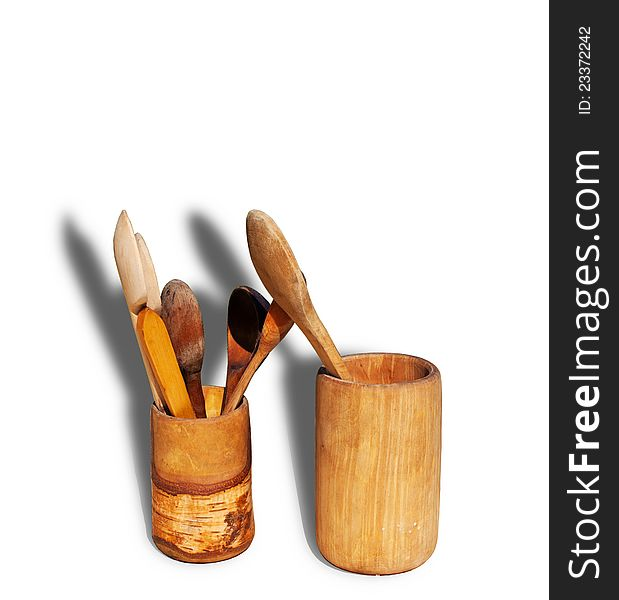 Wood goblets and spoons
