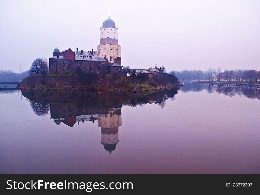 Medieval Vyborg castle on island