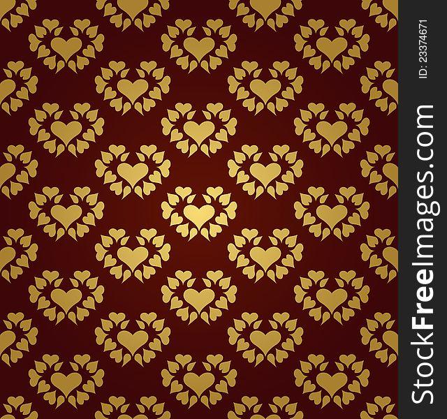Seamless pattern. Gold hearts