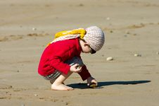 Free Little Boy  Gathering Stones On The Beach Stock Photography - 23381672