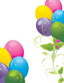 Free Colorful Balloons And Spring Flowers Royalty Free Stock Photos - 23382748