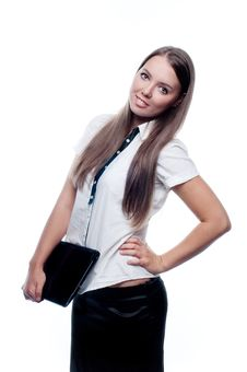 Free Young Woman Holding A Closed Laptop Stock Image - 23387371