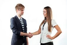 Free Young Man And Woman Shaking Hands Royalty Free Stock Photos - 23387518