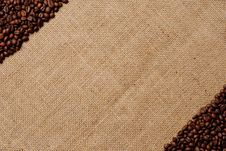 Free Coffee Beans On Burlap 3 Stock Photo - 23387590
