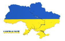 Free Ukraine, Map With Flag, Isolated, Clipping Path Stock Images - 23388034