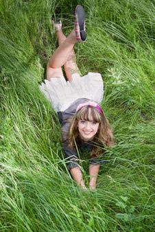 Free Beautiful Girl On Green Grass Stock Images - 23388364