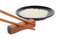 Free Chopsticks And A Plate Of Rice Stock Image - 23391201