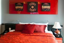Free Red Luxurious Bed In A Hotel Stock Photos - 23395653