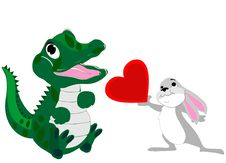 Free Baby Alligator And Bunny Love Royalty Free Stock Image - 23398386