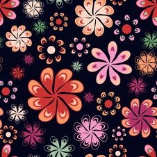 Free Multicoloured Flowers Seamless Pattern Royalty Free Stock Photography - 23399177
