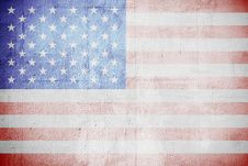 Free Shabby USA Flag On A White Wall Stock Photo - 23399360