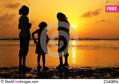 Free Girls At Sunset Royalty Free Stock Image - 2340896