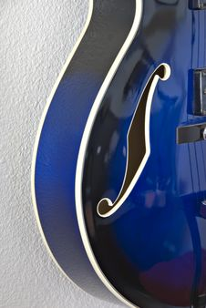 Left Side Of Blue Guitar Royalty Free Stock Image