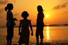 Free Girls At Sunset Stock Image - 2340891